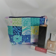 Patchwork, Quilted, Cosmetic Bag, Zipper Pouch