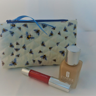 Quilted Cosmetic Bag, Bees, Zipper Pouch