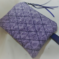 Coin Purse, Handmade Quilted, Lilac