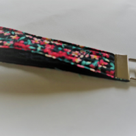 Quilted Key Ring, Keyring, Key Fob, Black and Red Flowers