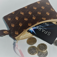 Quilted Coin Purse, Zipper Pouch, Zipped Purse, Fabric Coin Purse