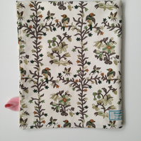Ivory, brown, green flora and fauna vintage fabric tea towel
