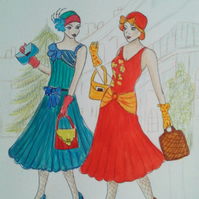 Original Vintage Print Art Deco Twenties Fashion Ladies Red Dress Figurative Art