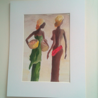 African Working Women, Colourful Figurative Ladies, Africa  Original Painting