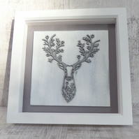 Grey Floral Stag Picture