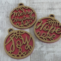 Three Red and Gold Christmas Hanging Decorations