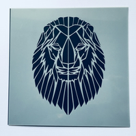 Geometric Lion Laser Cut Stencil