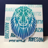 Blue Geometric Lion Card