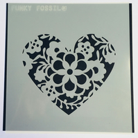 Floral Heart Layering stencils