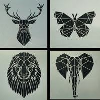 Geometric Animals Laser Cut Stencils - Set 1