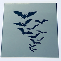 Bats in Flight Stencil