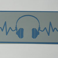 Headphone Heartbeat Stencil