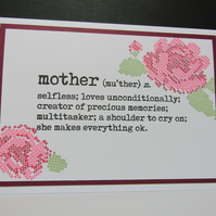 Floral Cross Stitch Mothers Day Card