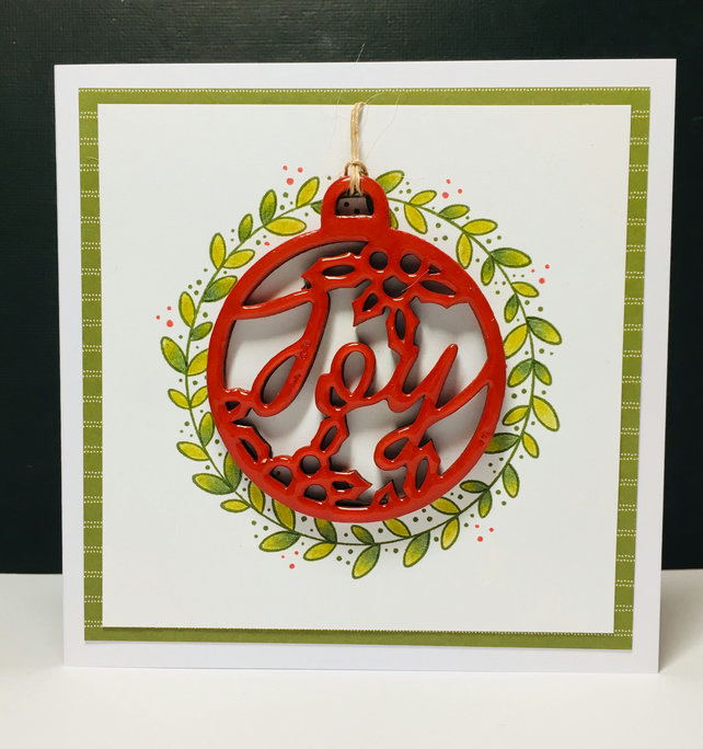 Christmas Greeting Card with Detachable Ornament - Joy