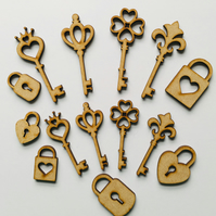 Laser Cut mdf key and lock embellishments
