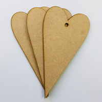 Set of 3 mdf hanging heart decorations