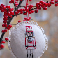 Nutcracker embroidered Christmas ornament