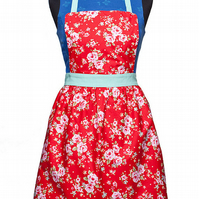 Womens Pinny, Bib Apron with Puffed Pleated Skirt, Mother and Child Apron