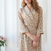 Ladies Dressing Gowns: Sizes UK 6-18, Silky Floral Womens Gown, 20s Ladies Robe