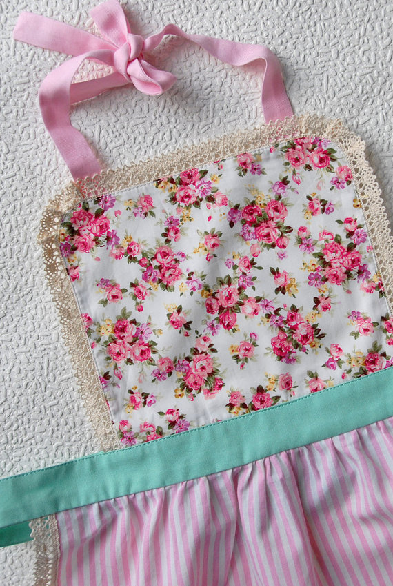 Kids Apron 7-9 years, Pink Floral Apron for Girls, Kitchen Apron, Pink Apron