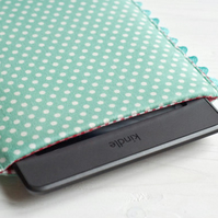 Cute Polka Dot iPad Mini, iPad Sleeve, Cute Sumsung Tab S2 case, mint iPad cover