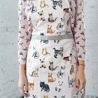 Ladies Pinny, Cat Print Men Apron, Men Cat Aprons, Cat Pinny, Kitchen Apron