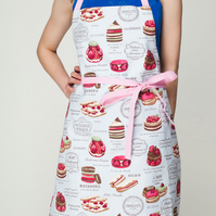 MULTI LISTING Blue and Pink Chef's Ladies and Mens Apron with Patisserie,Macaron