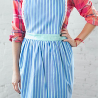 Cute Ladies Apron, Stripy Womens Pinny, Bib Apron, Cooking Apron, Kitchen Apron