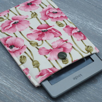 Poppy Print Kindle Button, Kindle Paperwhite Cover, Floral Kindle Padded Sleeve,