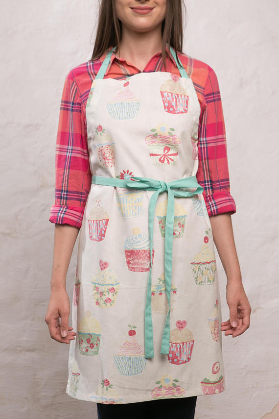Cupcakes Apron, Cream Kitchen Apron, Cotton Apron, Cafe Baking Apron