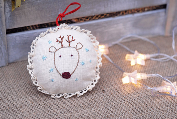 Christmas Rudolph Ornament, Embroidered Ornament, Rudolph Xmas Tree Decoration