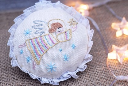 Christmas Angel, Angel With Embroidered Ornament, Decoration angel ornament