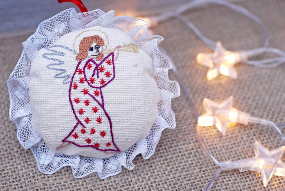 Hand Embroidered Christening Angels, Angel With Flute Embroidered Ornament