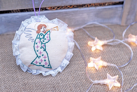 Christening Angels, Angel With Flute Embroidered Ornament, New Year Decoration