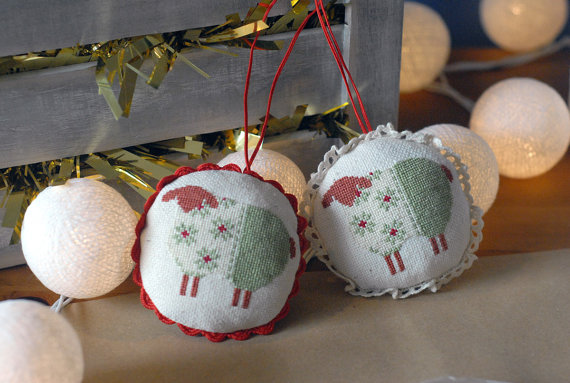 Hand Embroidered Sheep Ornament, Tree Decoration with ribbon, Christmas Ornament
