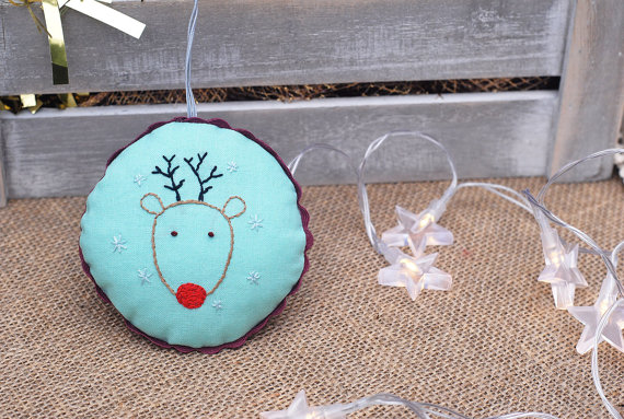 Christmas Rudolph ornament,Embroidered Ornament,Hand Embroidered Deer Decoration