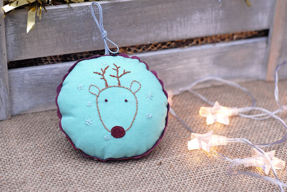 Xmas Tree Decoration,Embroidered Ornament,Hand Embroidered Deer Decoration
