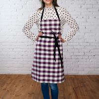 Unisex Check Ladies Men Kids Teenagers Girls Boys Chef Apron, Check Aprons