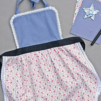 Toddler Apron 7-9 years, Floral Kids Pinny, Puffed Pleated Full Skirt,Navy Blue