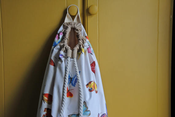 Butterfly Laundry Bag, Toys Bag, Nursery Storage Bag, Girls Drawstring Bag
