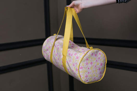 Yellow Duffel Bag, Floral Gym Bag, Travel Duffel Bag, Workout Bag, Yoga Bag