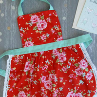Baby Apron 0-2 years, Mother Daughter Aprons, Toddler Apron, Red Apron