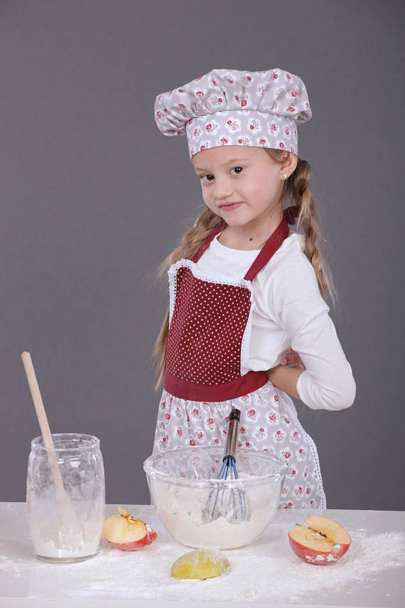 Kids Apron 7-9 years, Toddler Aprons, Burgundy Childrens Apron, Childs Apron