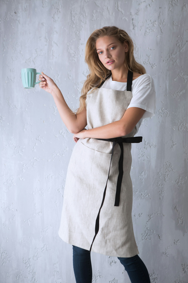 Linen Aprons, Apron for Women, Apron with Pockets, Chef Apron, Natural Linen