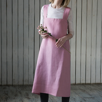 Pink Pinafore Apron, Linen Apron, Cross Back Apron, Baking Apron, Gift for Mum