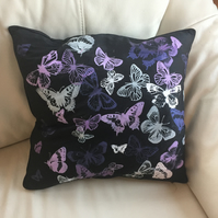 Butterfly screen printed cushion cover