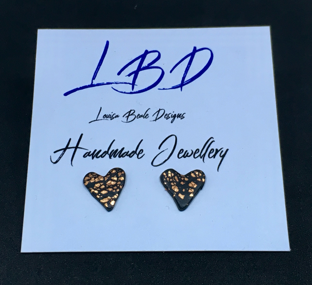 Heart shaped Stud earrings with copper leaf