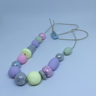 Metallic and pastel beaded necklace
