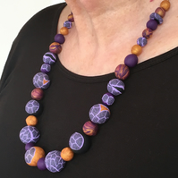 Beaded polymer clay necklace
