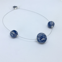 3 bead Shades of Blue Necklace